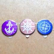 Nautical - 3 Piece iPhone Aluminum Metal Home Button Stickers for Apple iPhone, iPad, iTouch Anchor Ships Wheel Compass