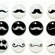 Mustache - 12 Pieces 3D Semi-circular Home Button iPhone iPad Decals Stickers