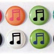 Musical Notes - 8 Piece Home Button Stickers for Apple iPhone, iPad, iPad Mini, iTouch