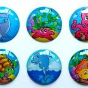 Ocean Life - 6 Piece Home Button Stickers for Apple iPhone, iPad, iPad Mini, iTouch